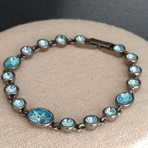 Blue crystal and gray metal bracelet